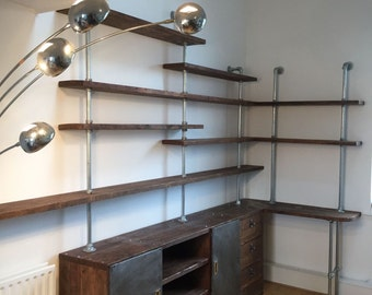 Caterina Scaffolding Board and Dark Steel Pipe Shelving, Desk and Storage Unit incorporating Vintage Metal Doors - www.urbangrain.co.uk