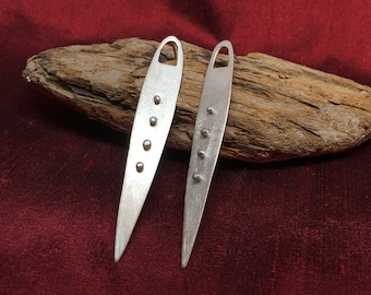 Silver Beaded Blade Earrings