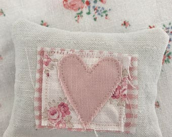 French linen pink heart lavender pillow