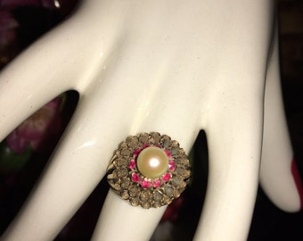 Vintage pearl and ruby ring