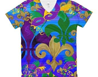Mardi Gras bling mask and fleur de lis art ladies v-neck all over art t-shirt