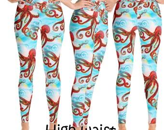 Red octopus beach art leggings from my art
