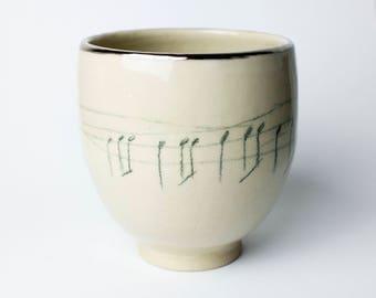 Ceramics Pottery Mug, Pottery And Ceramics, Stoneware Pottery, Handmade Pottery, Coffee Mugs,Unique decor, Music Decor, Minimal Decor, Note