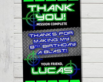 Laser Tag Thank You Card Laser Tag Birthday Party Favor Tag with matching Invitation Party Supplies Available
