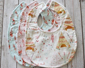 TeePee and Feather Baby Bibs