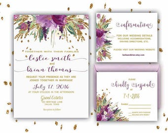 Floral Wedding Invitation Printable Wedding Invitation Suite Purple and Gold Wedding Invite Wedding Invite Gold Wedding Invite DIY