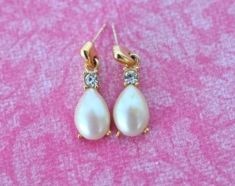 Signed Richelieu Faux Pearl Dangle Earrings, Bridal Earrings, Pearl Earrings, Dangle Earrings, Pearl Drop Earrings, Pierced Earrings GS862