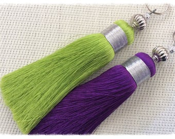 Pair of Moroccan silk tassels in light green and purple