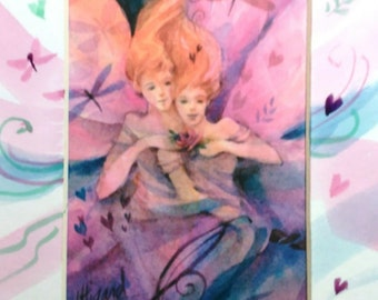 Twin Fairies - Spirit Inspired Watercolor Print with Unique Hand Painted Mat
