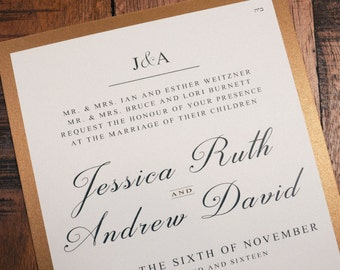 Antique Gold and Black Wedding Invitation, Antique Gold and Black Wedding Invitations, Antique Gold and Black Invitations, Gold and Black