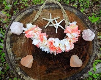 Adjustable Pink and White Flower Crown
