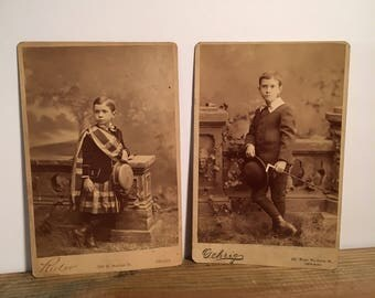 Pair of Cabinet Cards of a Stylish Kid, 19th Century Antique Photographs