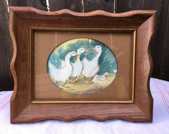 Vintage Geese Watercolor Print by Juanita Courtney 1987