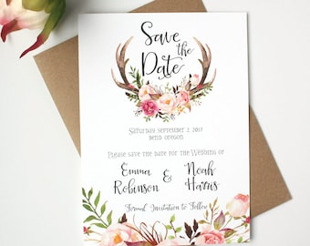 Antler Save the Date Cards - Blush Pink - Save the Date Card - Floral Antler Collection
