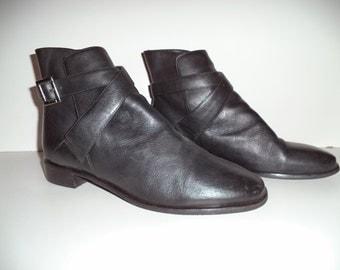 90's ankle boots// Black leather goth punk wrap buckle short dress// Vintage Details// Men's size 11 USA