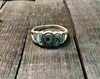 Vintage Sterling Silver/ Abalone Shell Ring   #252