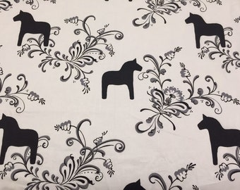 Fabric sweden horse black white leaves Scandinavian desing