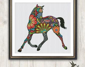 Horse Cross Stitch Pattern, abstract animal cross stitch pattern, modern cross stitch pattern, mosaic cross stitch pattern, needlecraft
