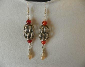 Sterling silver earrings, carnelian earrings, earrings, bird cage earrings, environmentally friendly shop, cruelty free jewelry shop