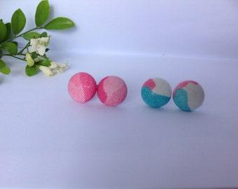 Handmade Camo Fabric Button Earrings