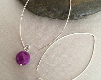 Sterling Silver Threader Earrings, Fuchsia Agate Drop Earring, Open Hoop Earring