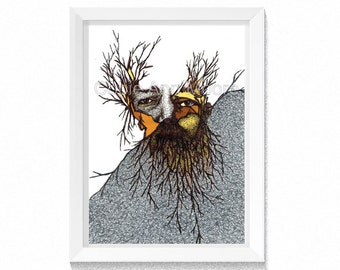 Wild Man - Tree - Bearded Man - Artwork - Drawing - Print