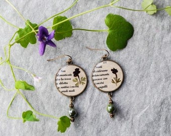 earrings with flowers and poetry-kahlil gibran-jewels from nature-botanists
