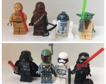 STAR WARS Set of 8 Minifigures. Perfect for Cake Toppers or Party Favors. Includes Darth Vader, Kylo Ren, R2D2, Chewie, C3PO and more.