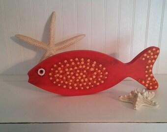 Cadmium Orange Fish/wood/shelf sitter