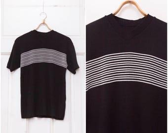 90s Black White V-neck T-shirt Womens Medium Striped T Shirt Mens Small Monochrome Tee Minimalist Short Sleeve Pullover Stripy V neck Top M