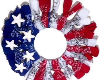 Patriotic bandana wreath,bandana wreath,4th if july bandana wreath,red, white ,blue bandana wreath