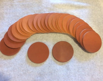 Leather coaster 6 pack natural brown 8-10 oz