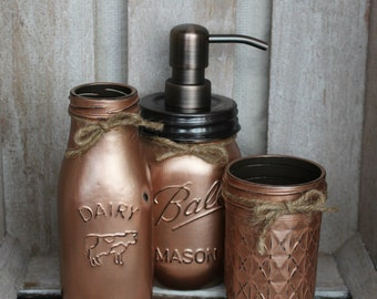 3pc. CUSTOM COLOR Mason Jar Bathroom Set - toothbrush holder - mason jar soap dispenser - Christmas bathroom - copper decor - country girl