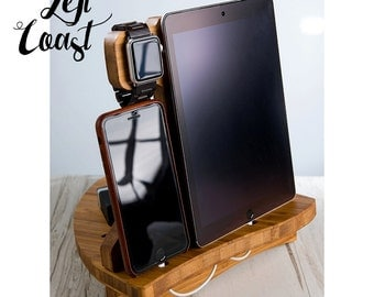 Apple Watch Charging Station Dock iPhone iPad Stand Mother Father Her Him Men Women Wedding Bride Groom Boyfriend With Optional USB Charger