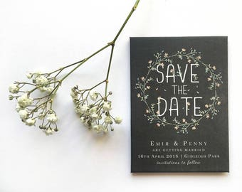 Wedding Save the Date Magnet - Rustic Chalkboard with Pastel Florals