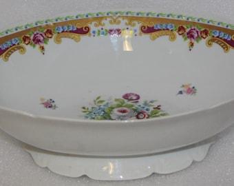 T Limoges marked c a oval bowl on stand Limoges display bowl oval shape bowl vintage bowl 33 cm / over 1 ft wide larger bowl fruit bowl