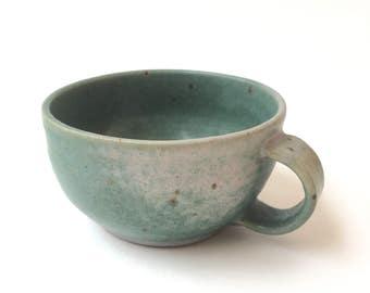 Green freckled coffee mug