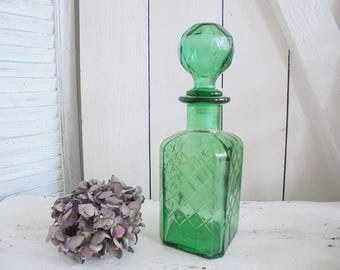 Vintage green glass carafe decanter Italy