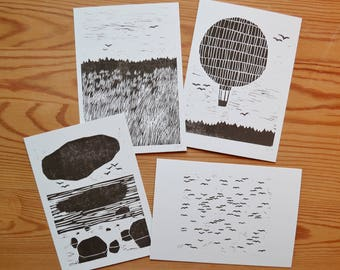 "Postcard set of 4 ""birds and sea"""