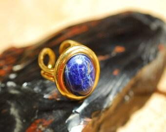 Adjustable ring, Gold plated gemstone ring, Sodalite ring, GP Sodalite ring