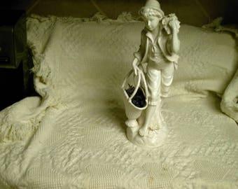 "Estate Sale Vintage White Detailed Porcelain Sculpture Statue 18.5"" Italian French Boy Weaved Basket Flowers"