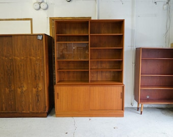 danish mid century modern teak bookcase storage cabinet by hundevad