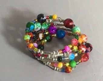 Beautiful Multi Colored Glass Beads Memory Wire Bracelet