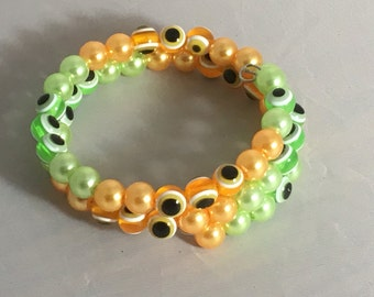 The Eyes Have It or Maybe Polka Dot Beaded  Bracelet