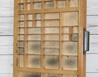 Large, Vintage, Wooden Letterpress Printers Tray or Drawer, Collectables Display Case or Box