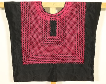 Tehuana chain-stitched huipil, mexican blouse, ethnic traditional blusa and costume, textile of Oaxaca, Collector's indigenous clothing