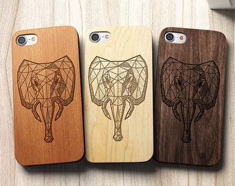 Geometric Elephant Geometric iPhone 8 case, 8 PLUS, X, SE 5s 5 6 /6s 7 Plus Case Samsung Galaxy S6 S7 S8 Edge Real Wood Case Laser Engraved