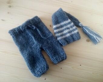 Mohair Newborn Set, Knit Newborn Set, Newborn Elf Hat, Newborn Pants, Newborn Photo Prop, Baby Boy Set, Handmade Baby Set, Newborn Outfit