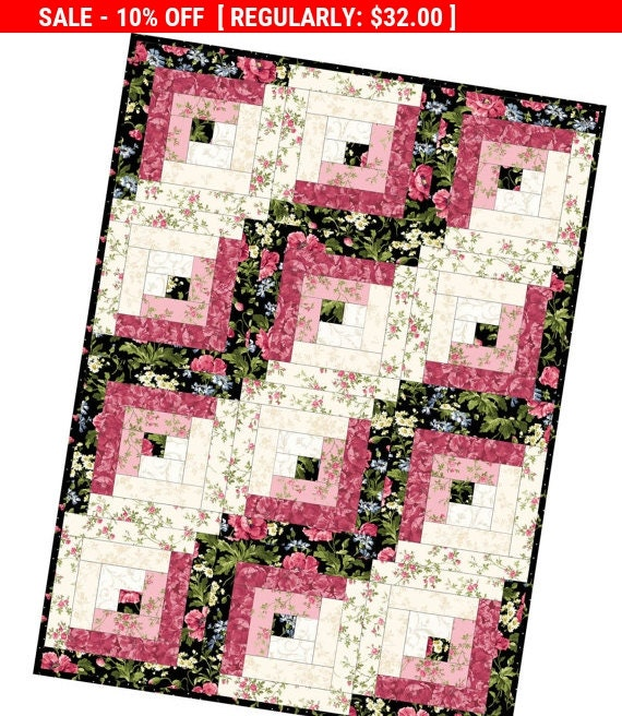 Pattern Sale Poppies Log Cabin Precut Quilt Kits By