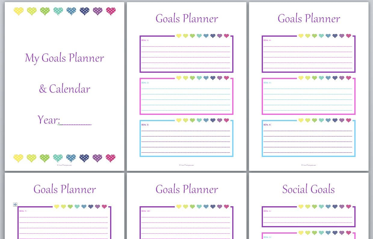 Calendar Year Goals Record : Any year pages with goal planner habit calendar